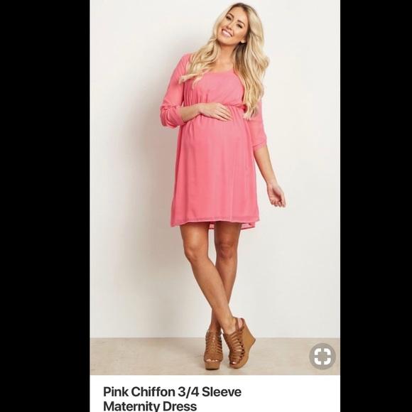 ce6f15dbf90 Pinkblush Pink Chiffon 3 4 sleeve maternity dress